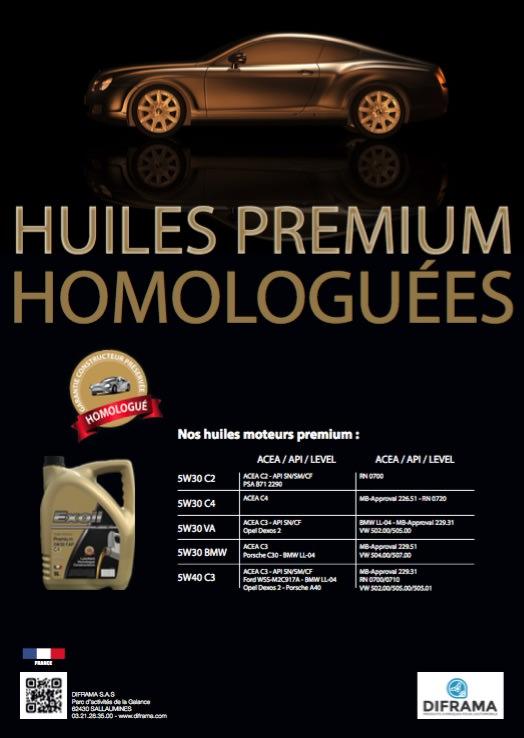 Huiles premium Homologuées