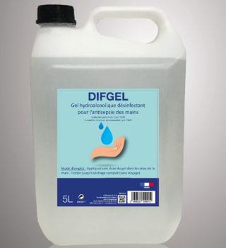 DIFGEL - Gel Hydroalcoolique désinfectant pour l'antisepsie des mains - 5L